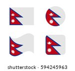 set 4 flags of nepal | Shutterstock .eps vector #594245963