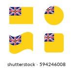 set 4 flags of niue | Shutterstock .eps vector #594246008
