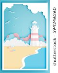 lighthouse with ocean... | Shutterstock .eps vector #594246260