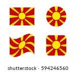 set 4 flags of macedonia | Shutterstock .eps vector #594246560