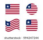 set 4 flags of liberia | Shutterstock .eps vector #594247244