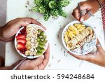 smoothie bowls with mixed... | Shutterstock . vector #594248684