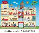 illustration of interior hotel... | Shutterstock . vector #594248969
