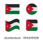 set 4 flags of jordan | Shutterstock .eps vector #594249458