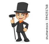 chimney sweeper holding chimney ... | Shutterstock .eps vector #594251768