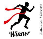 winner runner crossing finish... | Shutterstock .eps vector #594255050