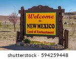 Small photo of Welcome sign at the New Mexico state line with the state's nickname, the Land of Enchantment.