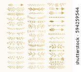 hand drawn golden text dividers.... | Shutterstock .eps vector #594259544