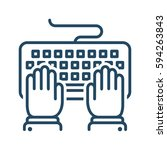 Hands Typing On Keyboard Vecto...