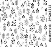 floral pattern. black and white ... | Shutterstock .eps vector #594265538