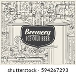 vector banner with the brewery  ... | Shutterstock .eps vector #594267293