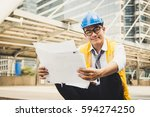 portrait of handsome engineer... | Shutterstock . vector #594274250