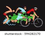 triathlon competition grunge... | Shutterstock .eps vector #594282170