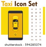 vector taxi mobile app icon set.... | Shutterstock .eps vector #594285374