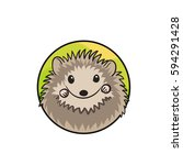 cute hedgehog with spiny coat... | Shutterstock .eps vector #594291428