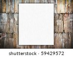 white new blank paper on vintage rusty wooden background - stock photo