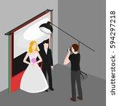 flat isometric newlyweds... | Shutterstock .eps vector #594297218