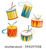 festive carnival drums isolated ... | Shutterstock .eps vector #594297458