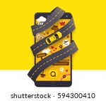 vector taxi mobile app icon... | Shutterstock .eps vector #594300410