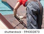 Roofer Builder Worker Use A...