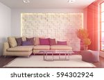 interior with sofa. 3d... | Shutterstock . vector #594302924