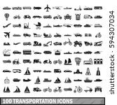 100 transport icons set in... | Shutterstock . vector #594307034
