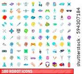100 robot icons set in cartoon...   Shutterstock . vector #594307184