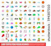 100 Toys For Kids Icons Set In...