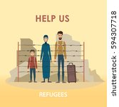 refugee family. muslim people.... | Shutterstock .eps vector #594307718