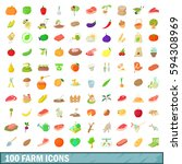 100 farm icons set in cartoon... | Shutterstock . vector #594308969