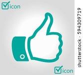like  icon. hand finger up sign.... | Shutterstock .eps vector #594309719