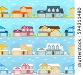 seamless neighborhood with... | Shutterstock .eps vector #594311480