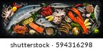 fresh fish and seafood... | Shutterstock . vector #594316298