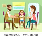 family have a lunch. father ... | Shutterstock .eps vector #594318890
