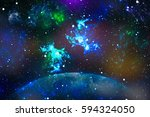starry outer space  background... | Shutterstock . vector #594324050