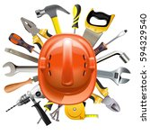 vector construction helmet with ... | Shutterstock .eps vector #594329540