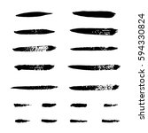 collection of black ink brush... | Shutterstock .eps vector #594330824