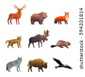 wild northern animals 3d... | Shutterstock .eps vector #594331814
