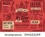 pizza food menu for restaurant... | Shutterstock .eps vector #594333299