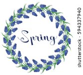 spring wreath of muscari... | Shutterstock .eps vector #594337940