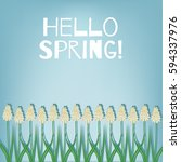 hello spring. spring card with... | Shutterstock .eps vector #594337976