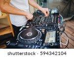 dj plays music | Shutterstock . vector #594342104