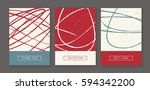 set of creative freehand cards. ... | Shutterstock .eps vector #594342200