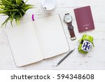 travel concept with passport on ... | Shutterstock . vector #594348608