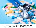 medical  medicine stethoscope... | Shutterstock . vector #594350570