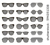 set of various custom glasses... | Shutterstock .eps vector #594351338