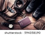 still life with men's casual...   Shutterstock . vector #594358190