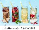 detox fruit infused flavored... | Shutterstock . vector #594365474