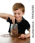 Happy Boy Putting Money In...