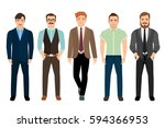 handsome men dressed in... | Shutterstock .eps vector #594366953
